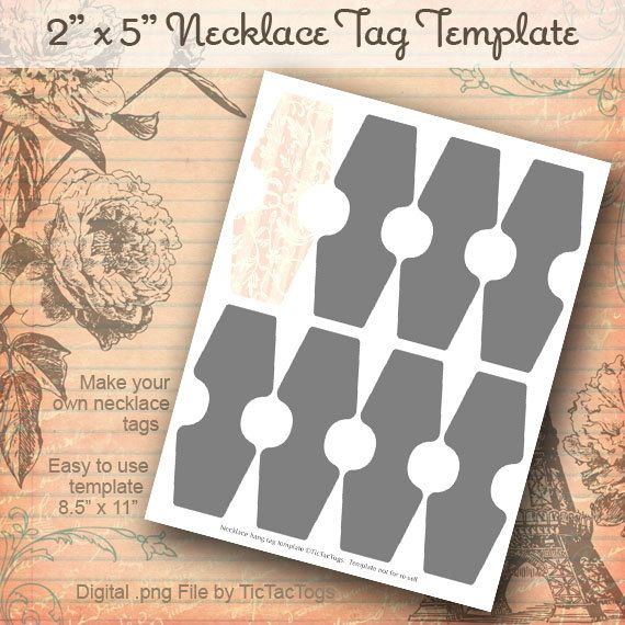Instant Download  Necklace Hang Tag Template Collage Set Png Diy