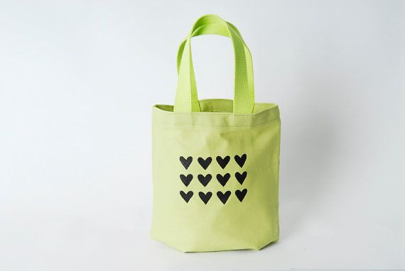 "Valentine's Day Bag Carry ""Small"" Tote Avocado Green with Black Painted Hearts"