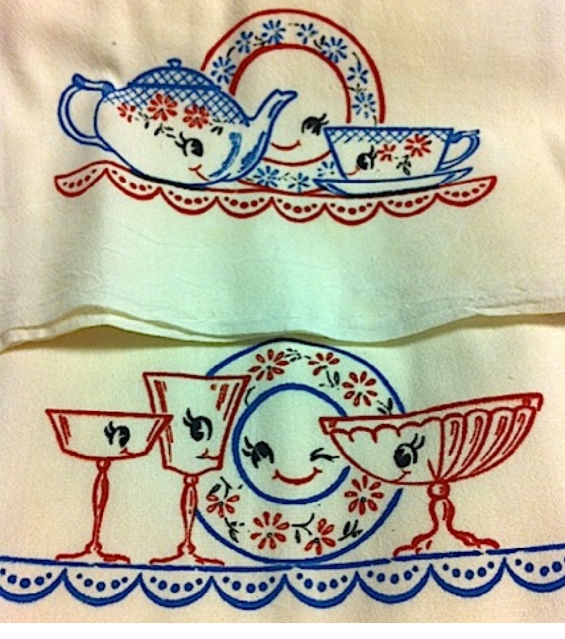 Vintage Kitchen Linens. Embroidered Tea Set And Dishes
