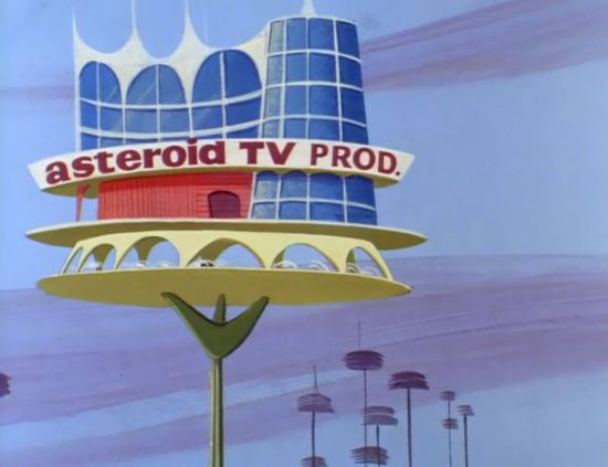 """The Asteroid TV production building in the ninth episode of """"The Jetsons""""."""
