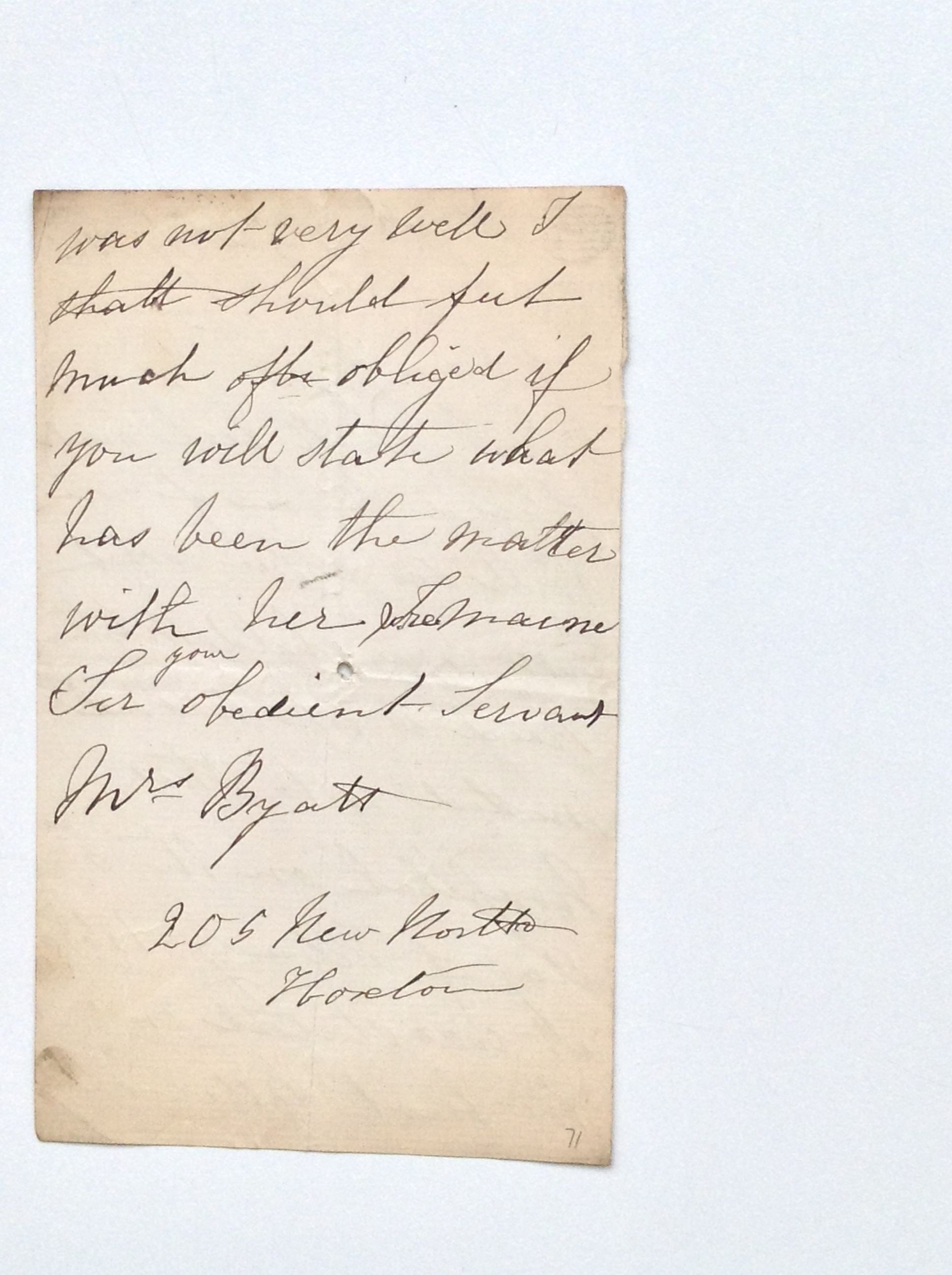 Mother'S Letter -- Byatt C. From The Archives Of Coram, Formerly The