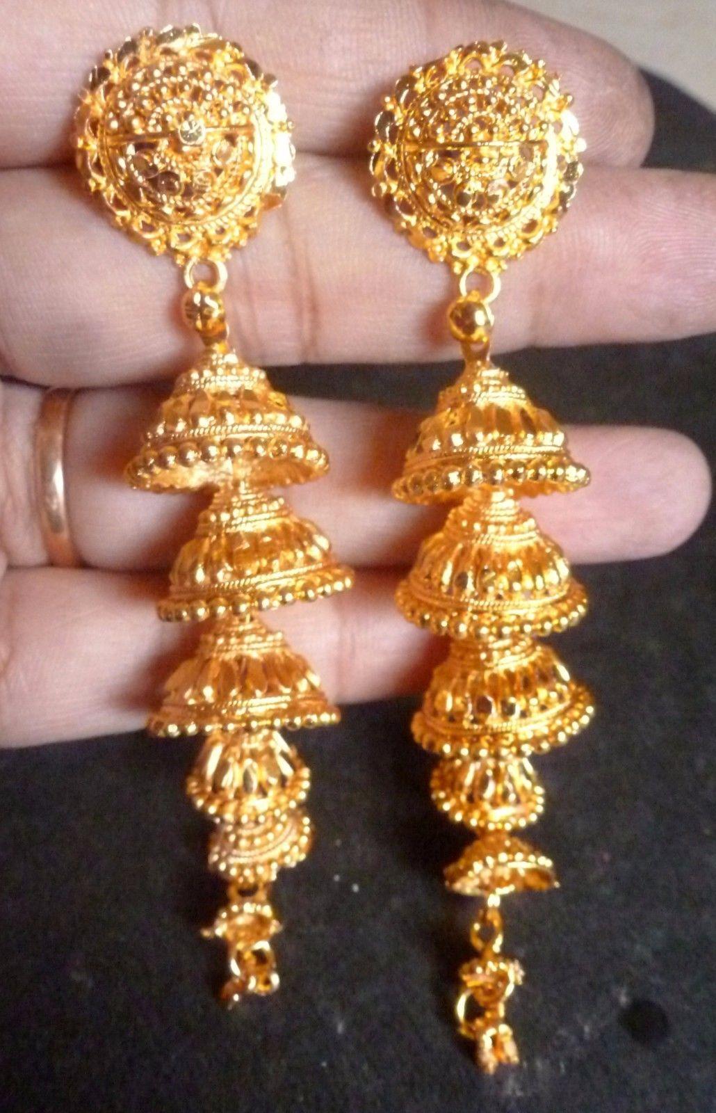 63b8e6156 22K Gold Plated 5 Steps Indian Weddings Bridal Jhumka Jhumki Earrings Set