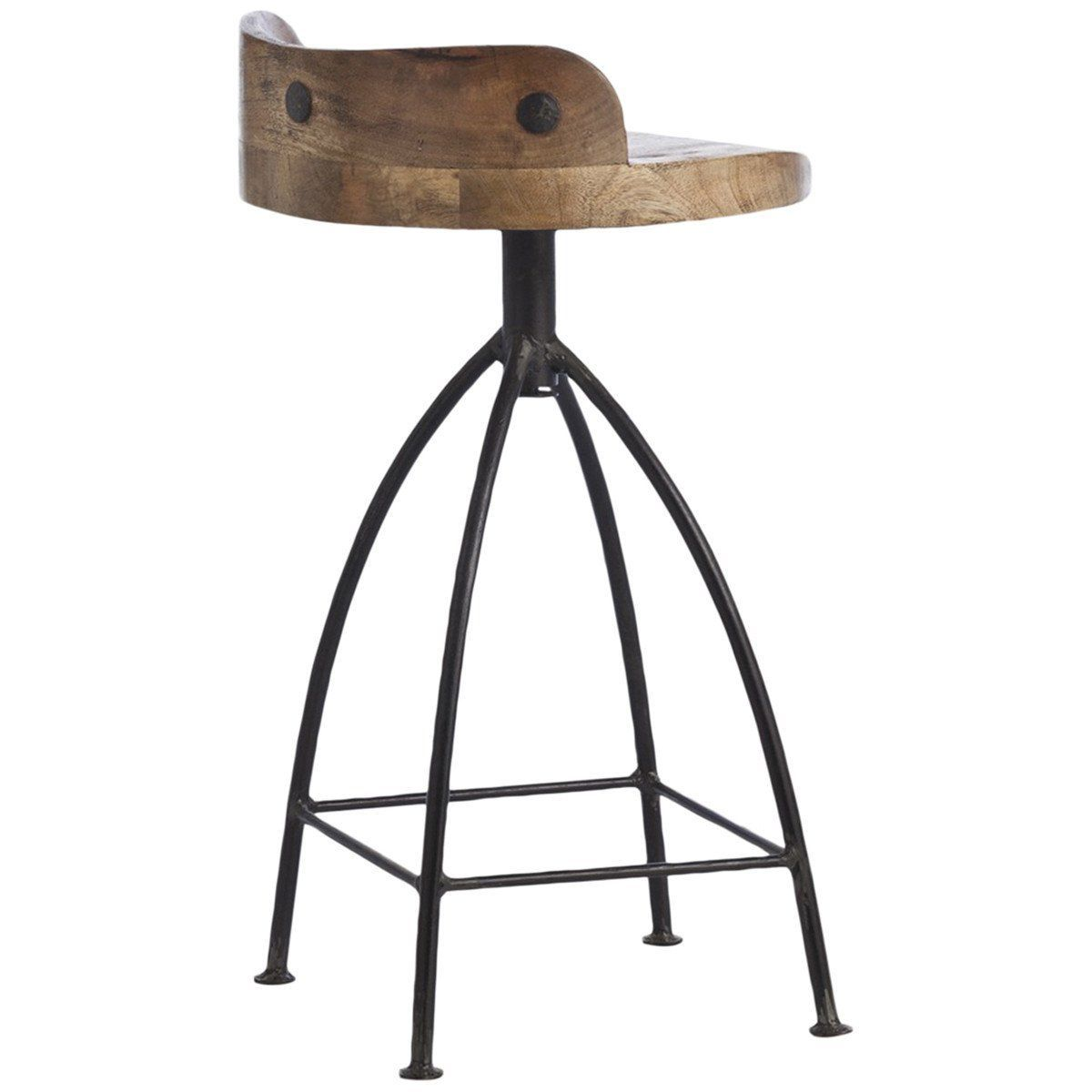 Rustic Counter Stool Features Sandblast Antique Waxed Wooden Swivel Seat And Natural Ir Industrial Style Kitchen Modern Farmhouse Kitchens Farmhouse Bar Stools