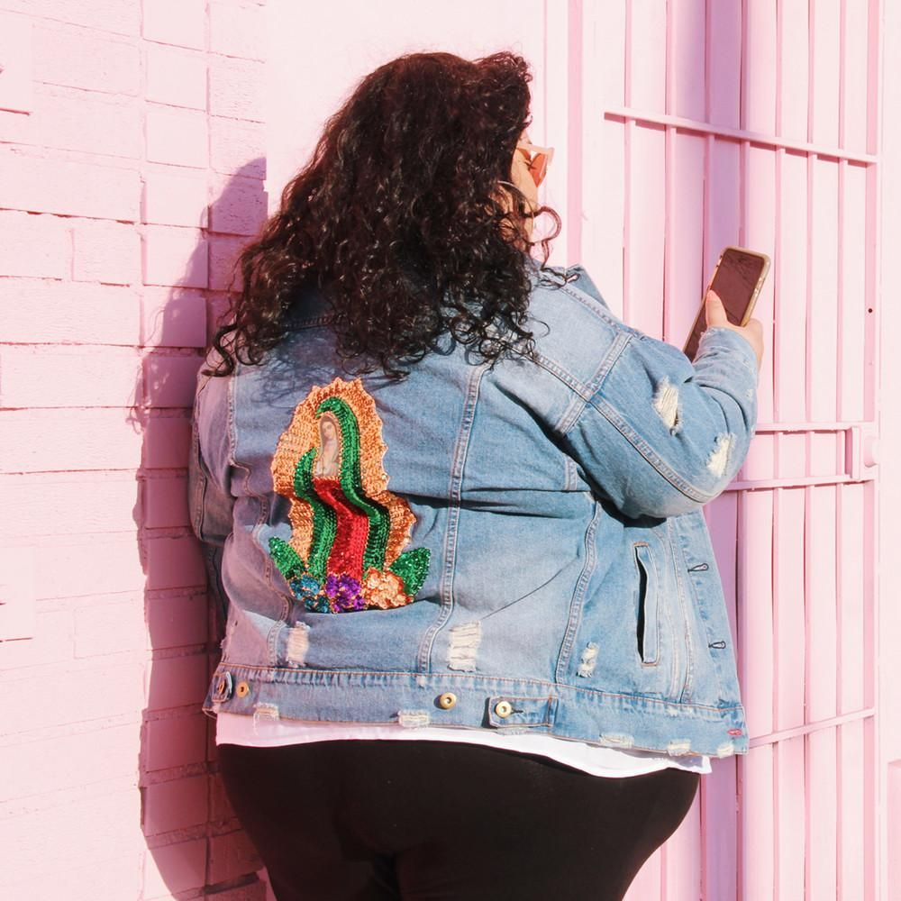 14f6e464a987 Plus Size Oversized Virgin of Guadalupe Jean Jacket