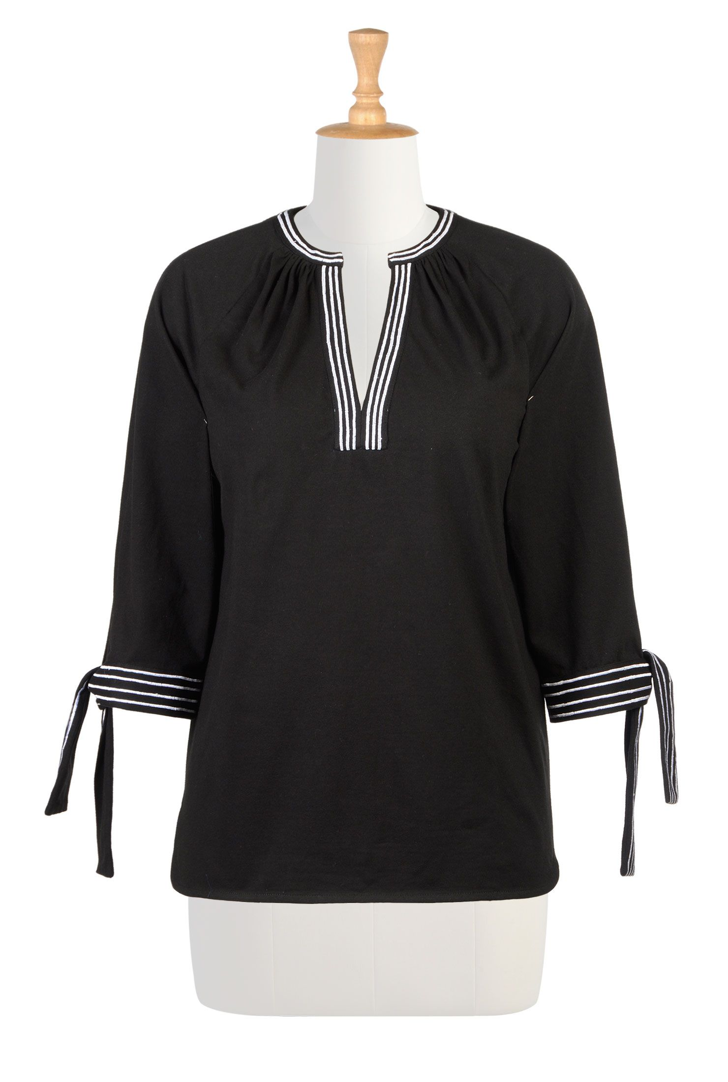 Stripe trim cotton knit tunics jersey knit tops womens long sleeve