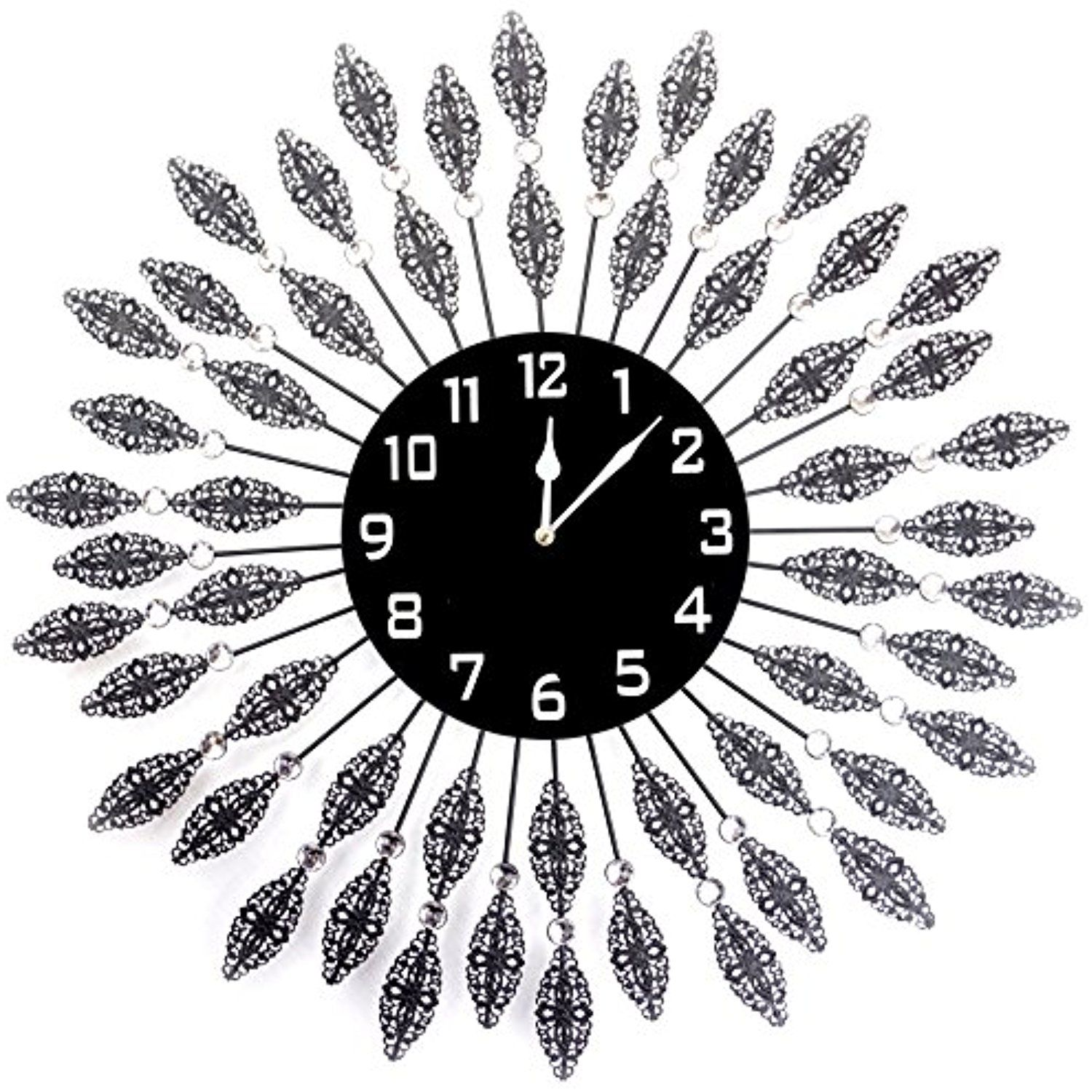 Lulu Decor, Black Drop Wall Clock, Glass Dial with Lines