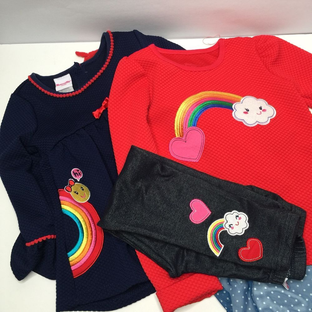 88d8a4915116 Nannette Kids Embroidered Rainbow Shirts Pants Girl Kid Size 6   eBay