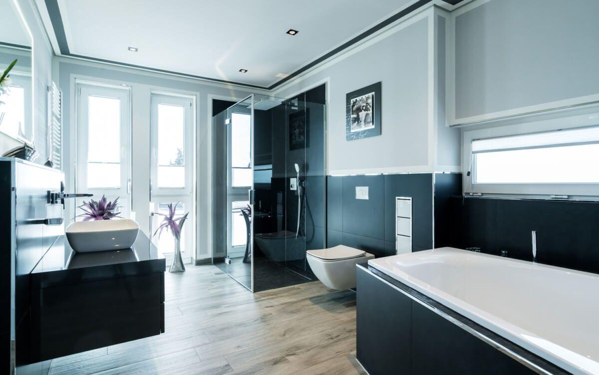 Badezimmer modern Boden mit Fliesen in Holzoptik - Bad Ideen