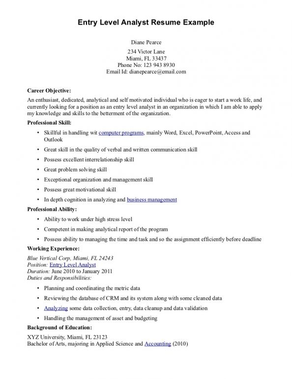 Entry Level Resume Objective Examples resume Pinterest Resume