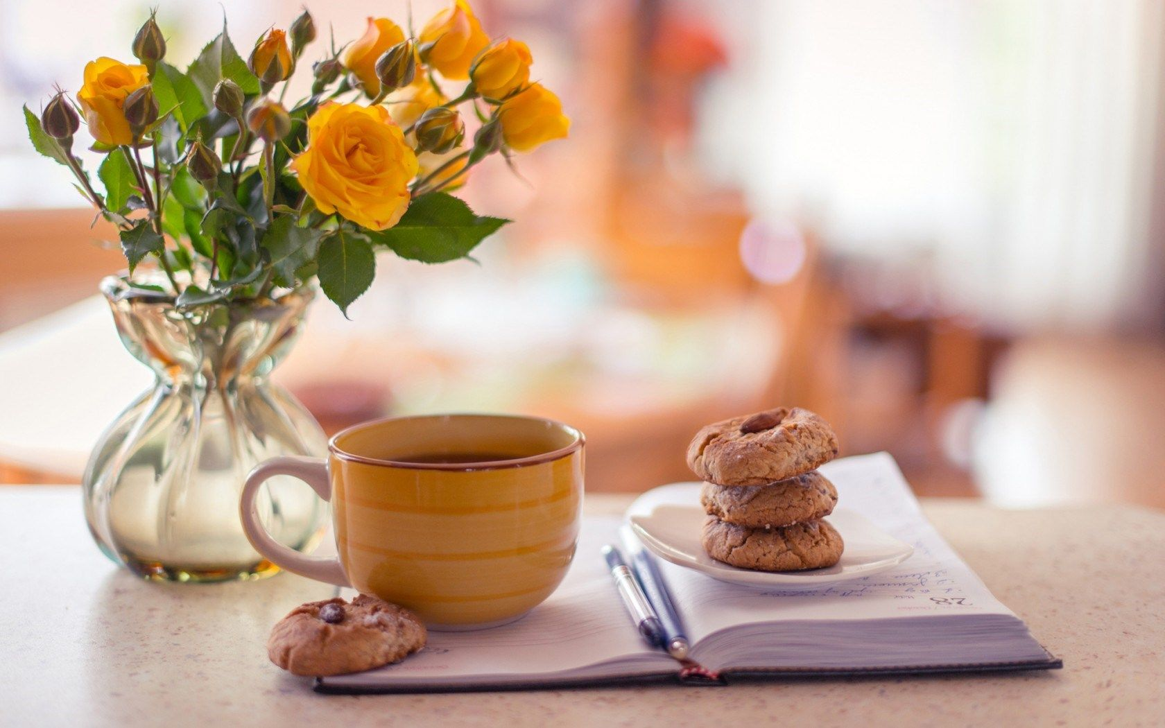 Biscuits Yellow Roses Open Notepad Tea Cup HD Wallpaper