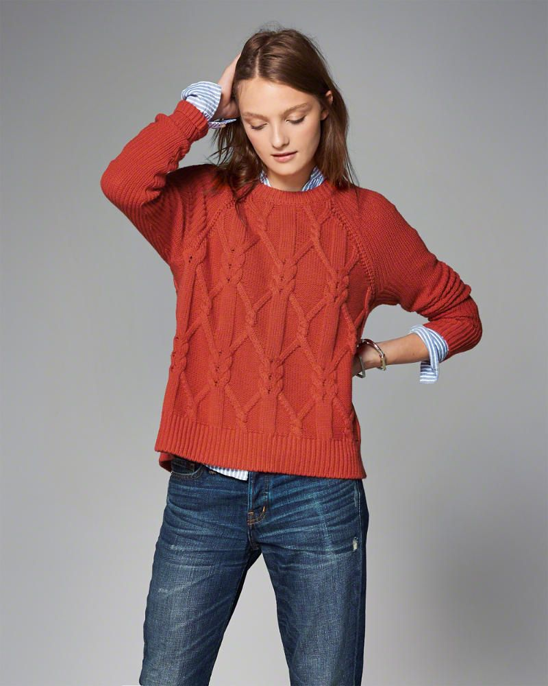 Abercrombie zip cable knit sweater