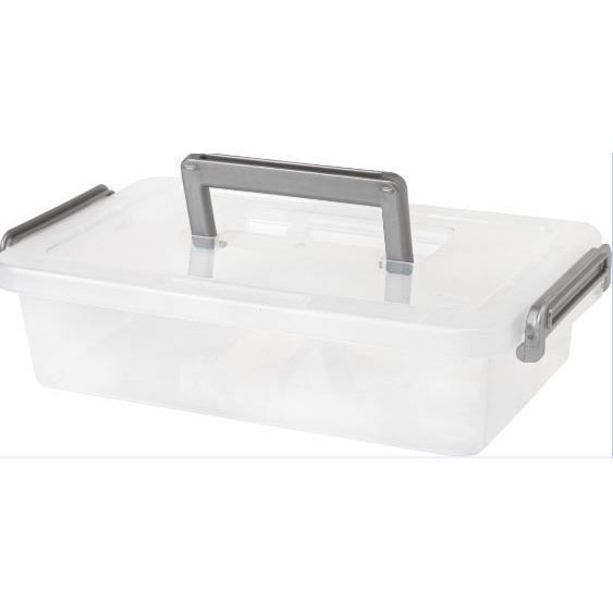 Iris Clear Plastic Medium Modular Latching Box With Handle Pack Of 8 Silver Handle Products Plastic Box Storage Plastic Storage Totes Tote Storage