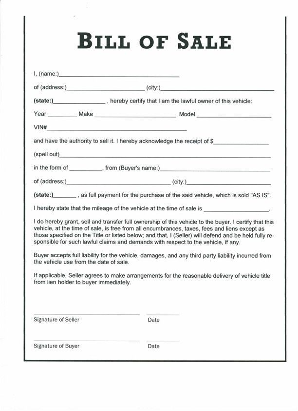 Printable Sample Vehicle Bill of Sale Template Form | Legal Doc ...