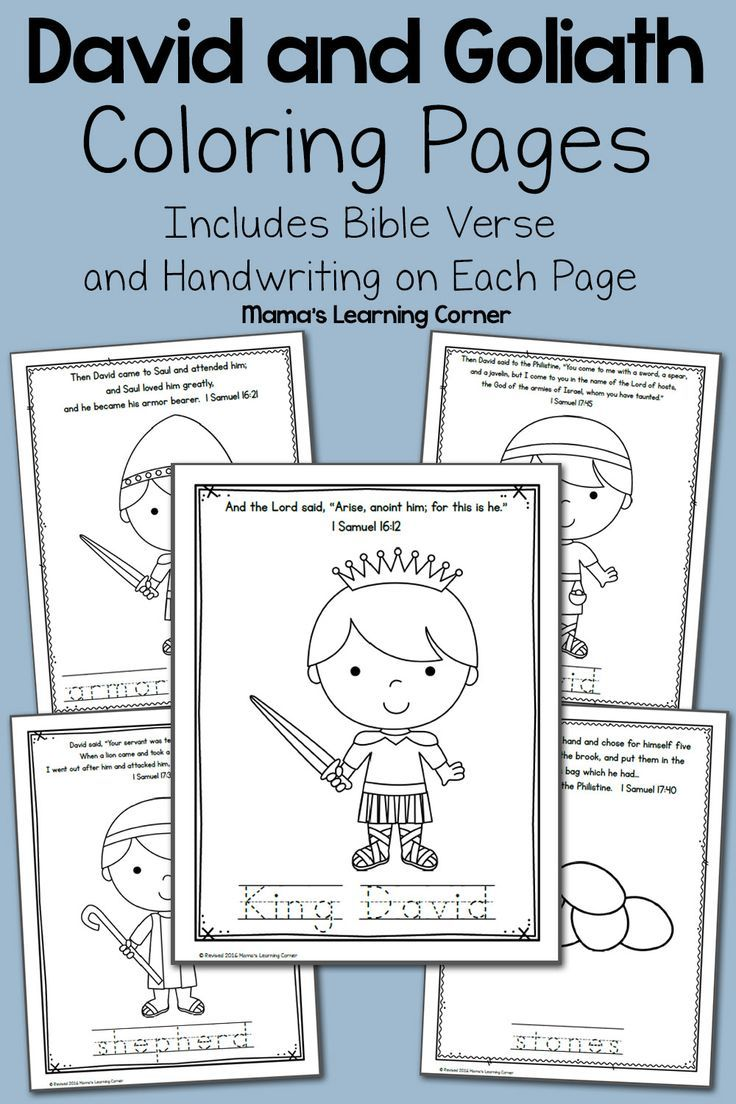 David and Goliath Bible Coloring Pages Preschool bible