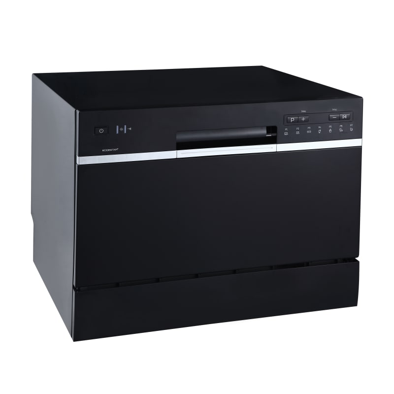 Edgestar Dwp62bl Black 22 Inch Wide 6 Place Setting Energy Star Rated Countertop Dishwasher Compactappliance Com Countertop Dishwasher Black Dishwasher Portable Dishwasher
