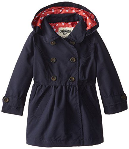 1a71cd5e3 Osh Kosh Little Girls  Midweight Trench Coat with Hood