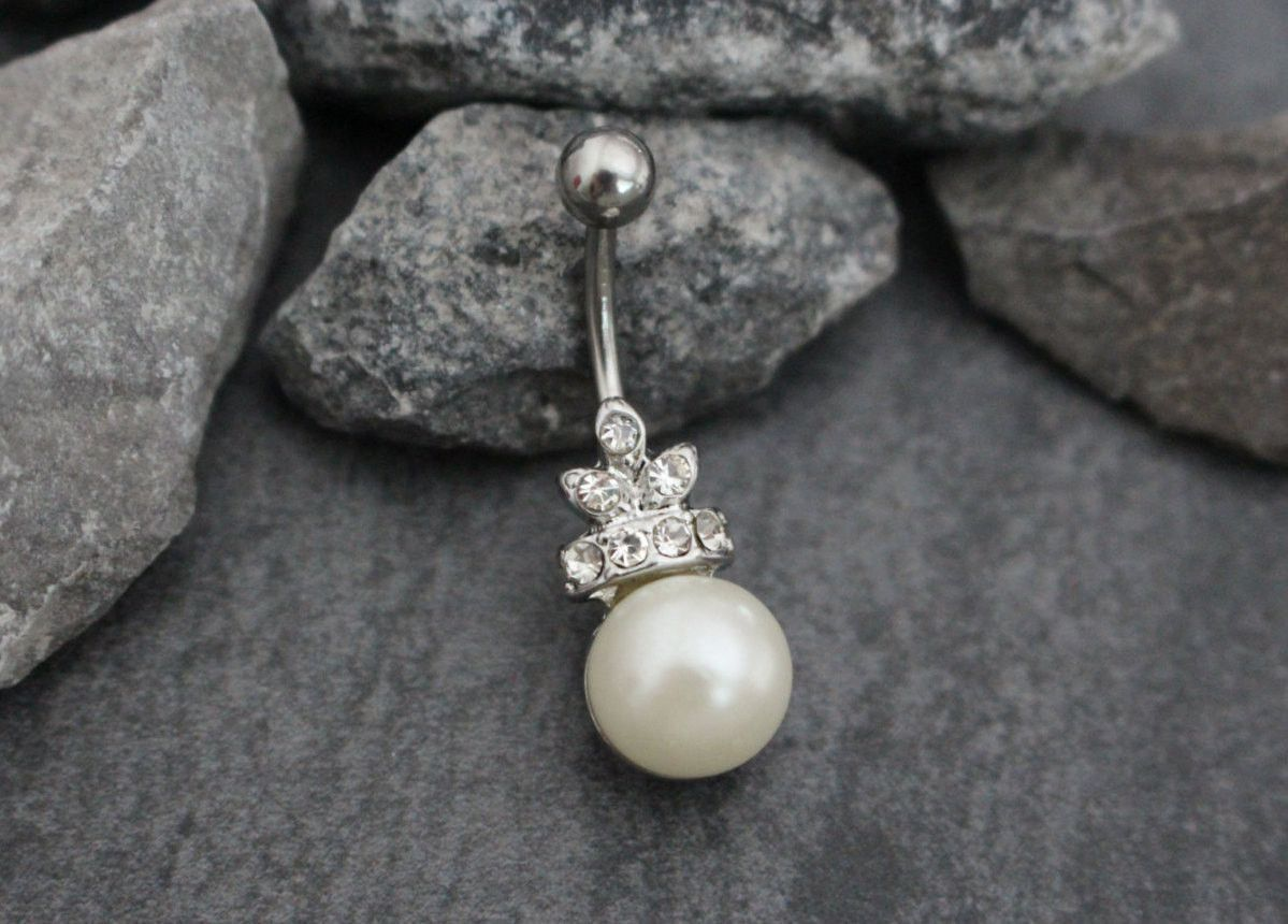 Belly without piercing  Pearl Belly Button Jewelry Navel Ring Belly Button Piercing Navel