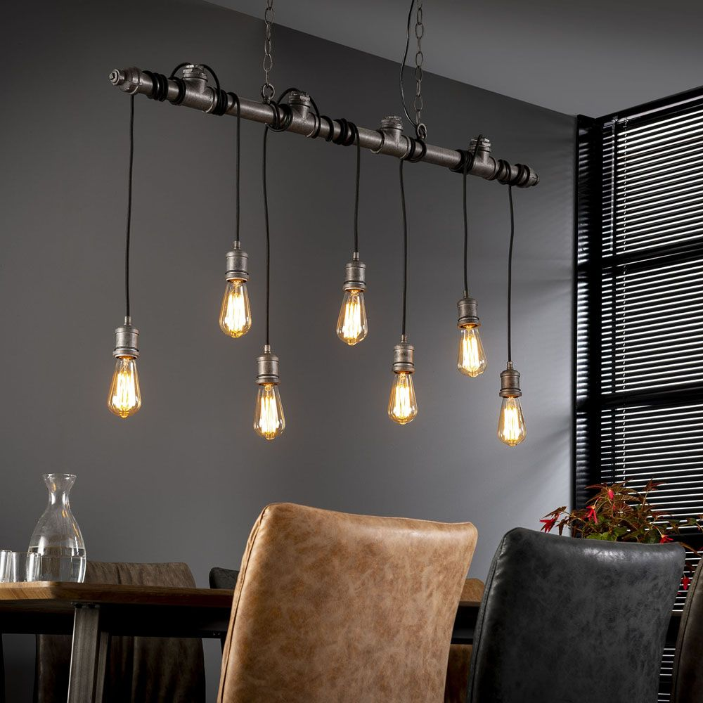 Hängelampe Industrie Rohr 7 Lampen 120 Cm Wasserrohr