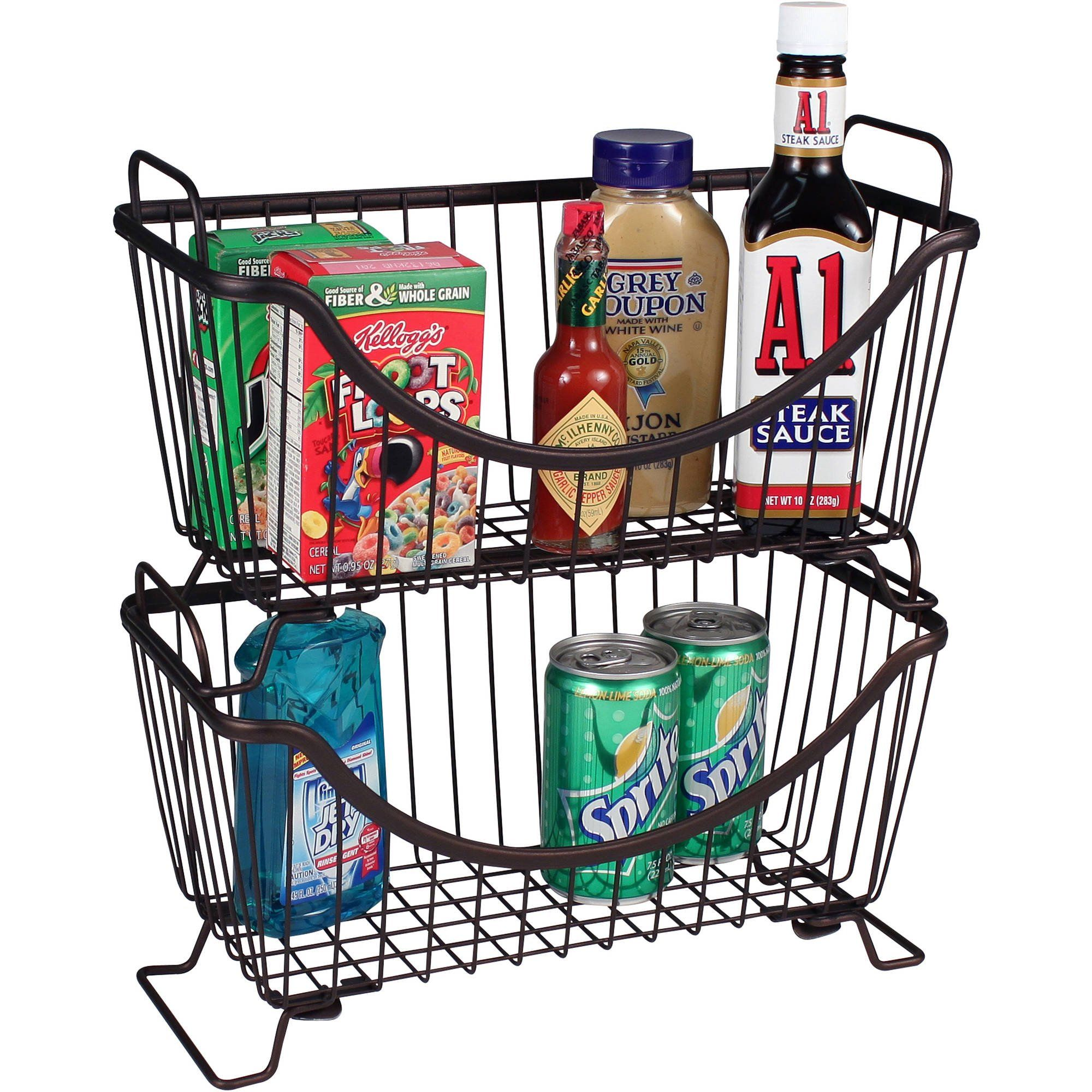 Spectrum Diversified Ashley Stackable Wire Basket With Raised Feet And Looped Handles Modular Stacking Bin System For Kitchen Countertop Desk Organization S Stackable Baskets Stacking Bins Spectrum Diversified