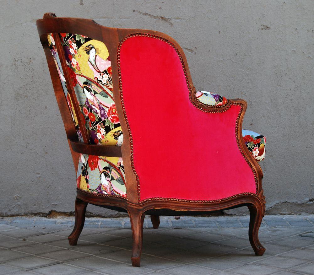 precio silla luis xvi tapizada con tela de pin-ups