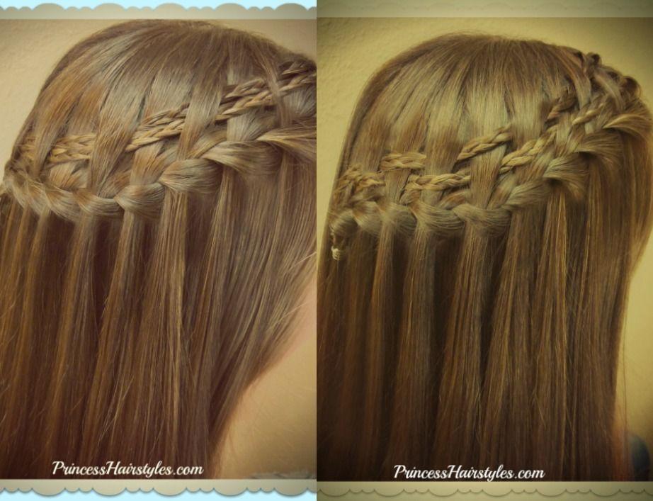 2 Waterfall braid variations, video tutorial | Princess Hairstyles ...