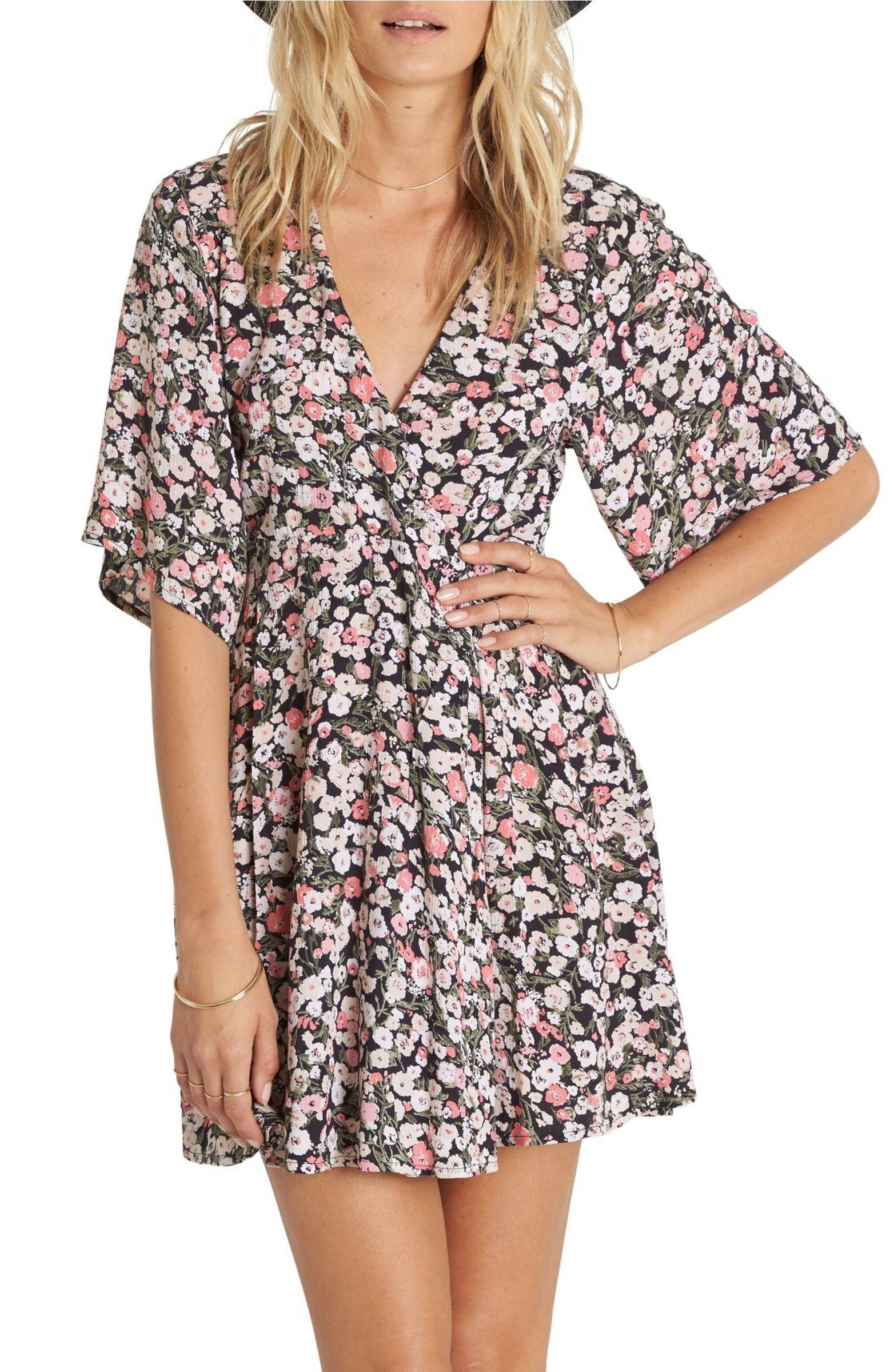 Main Image Billabong Dolly Print Flutter Sleeve Dress