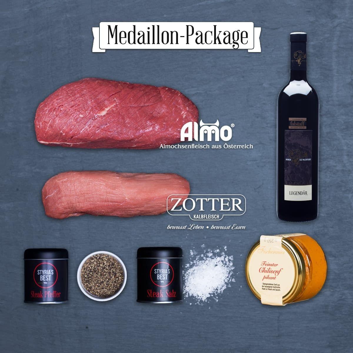 Styria's Best: Medaillon Package  Das Medaillon Package besteht aus:   - 1 ALMO Hüftsteak ca. 800 g - 1 Premium Kalbs Weißscherzl ca. 1000 g - 1 Flasche Legendär 0,75 l - 1 Glas Chillisenf 250 ml - 1 Dose STB Steak Salz 70 g  - 1 Dose STB Pfeffer 60 g  Im Package genießen sie einen Preisvorteil von rund 20% gegenüber dem Einzelkauf.  Am Besten zum Braten, Kurzbraten, Schmoren.