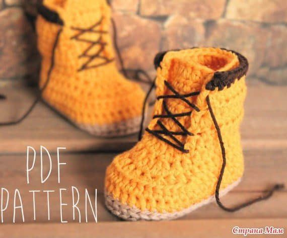 Patron botines tejidos a crochet para bebe02 | Patrones | Pinterest ...