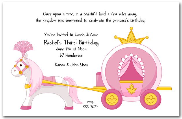 Blank Princess Birthday Invitations