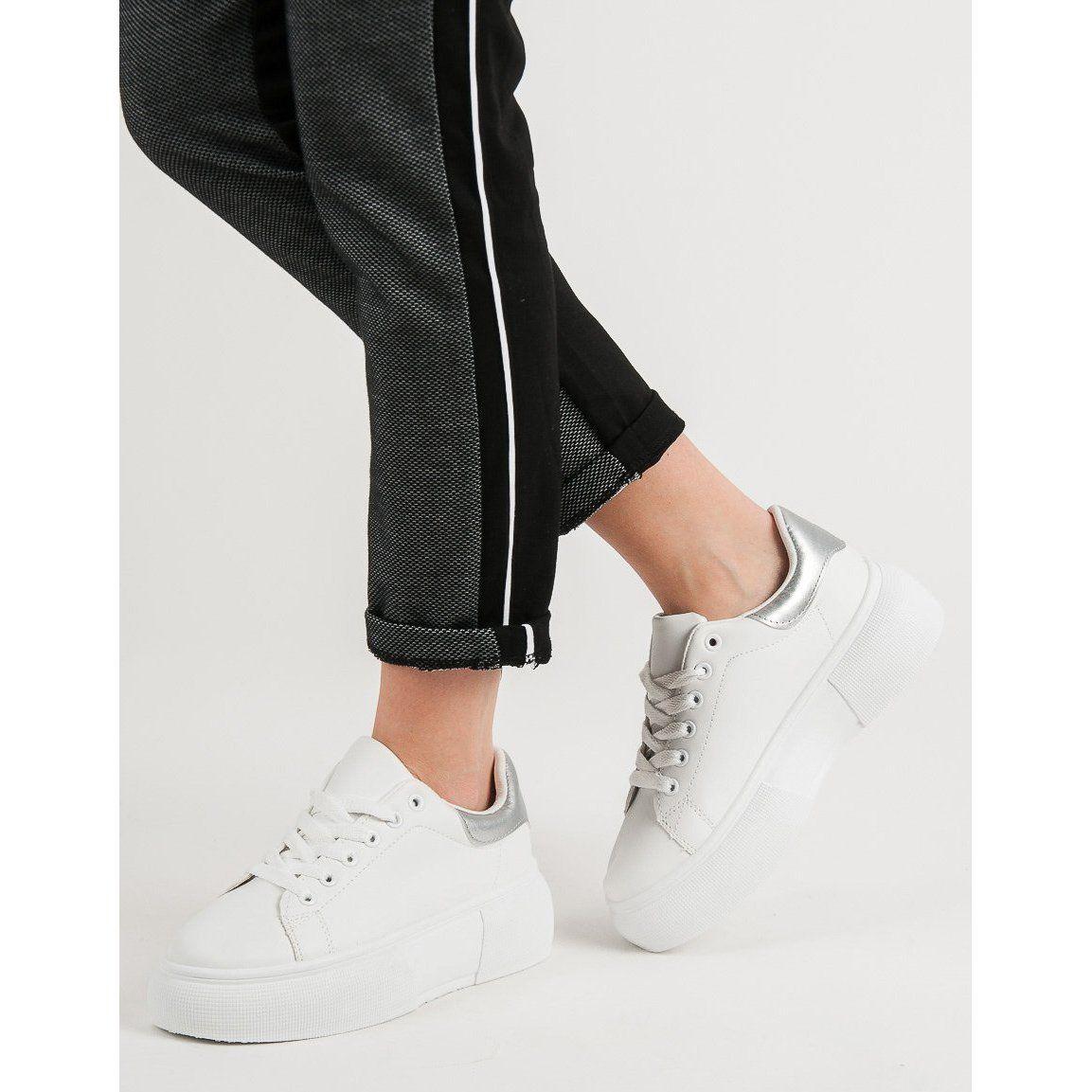 Renda Biale Buty Na Platformie Black Jeans Fashion Black
