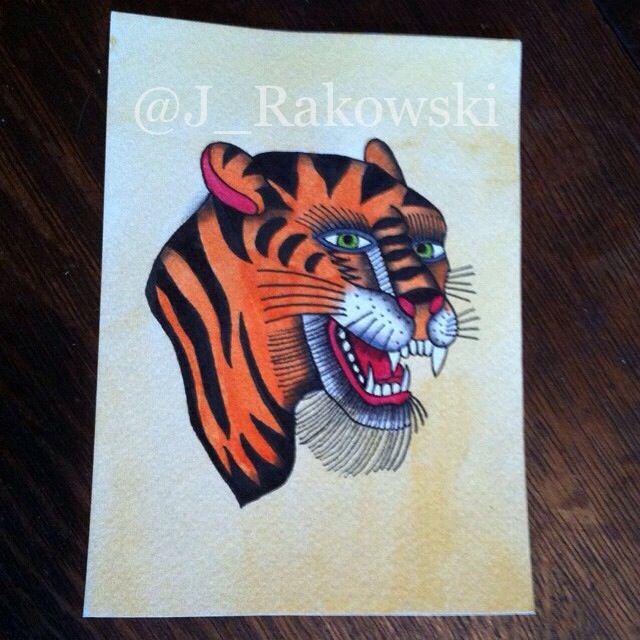 Traditional Bert Grimm style tiger tattoo flash panted by Justin Rakowski