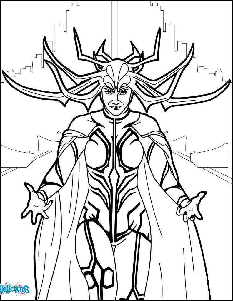 Hela Ragnarok Coloring Page Comic Books  Avengers coloring pages
