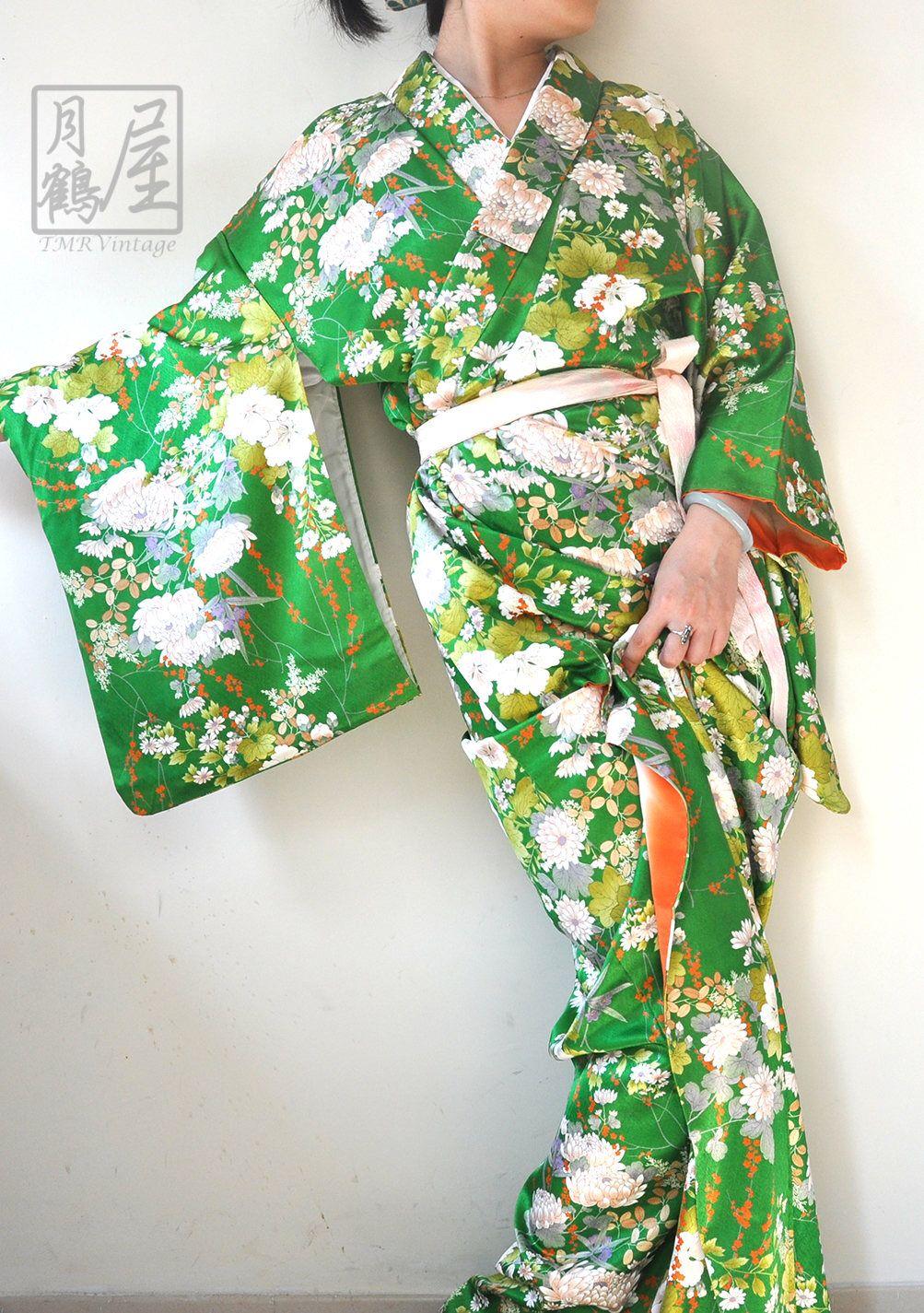 Japanese kimono robe long vintage silk full length kimono gown  dress authentic women s green bfc3c0bef
