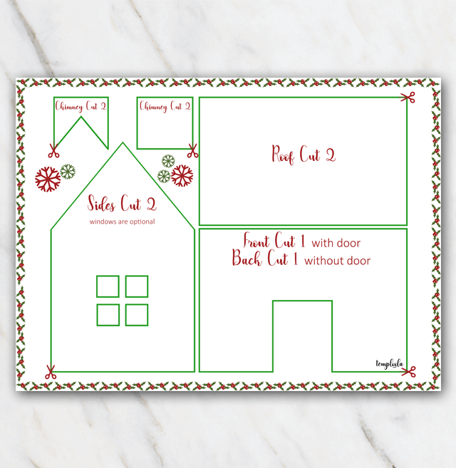 Gingerbread house template christmas snow red and green