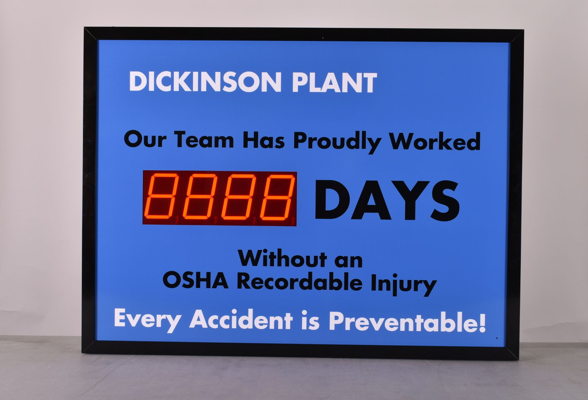 Number Days Since Last Accident Sign with Large Display