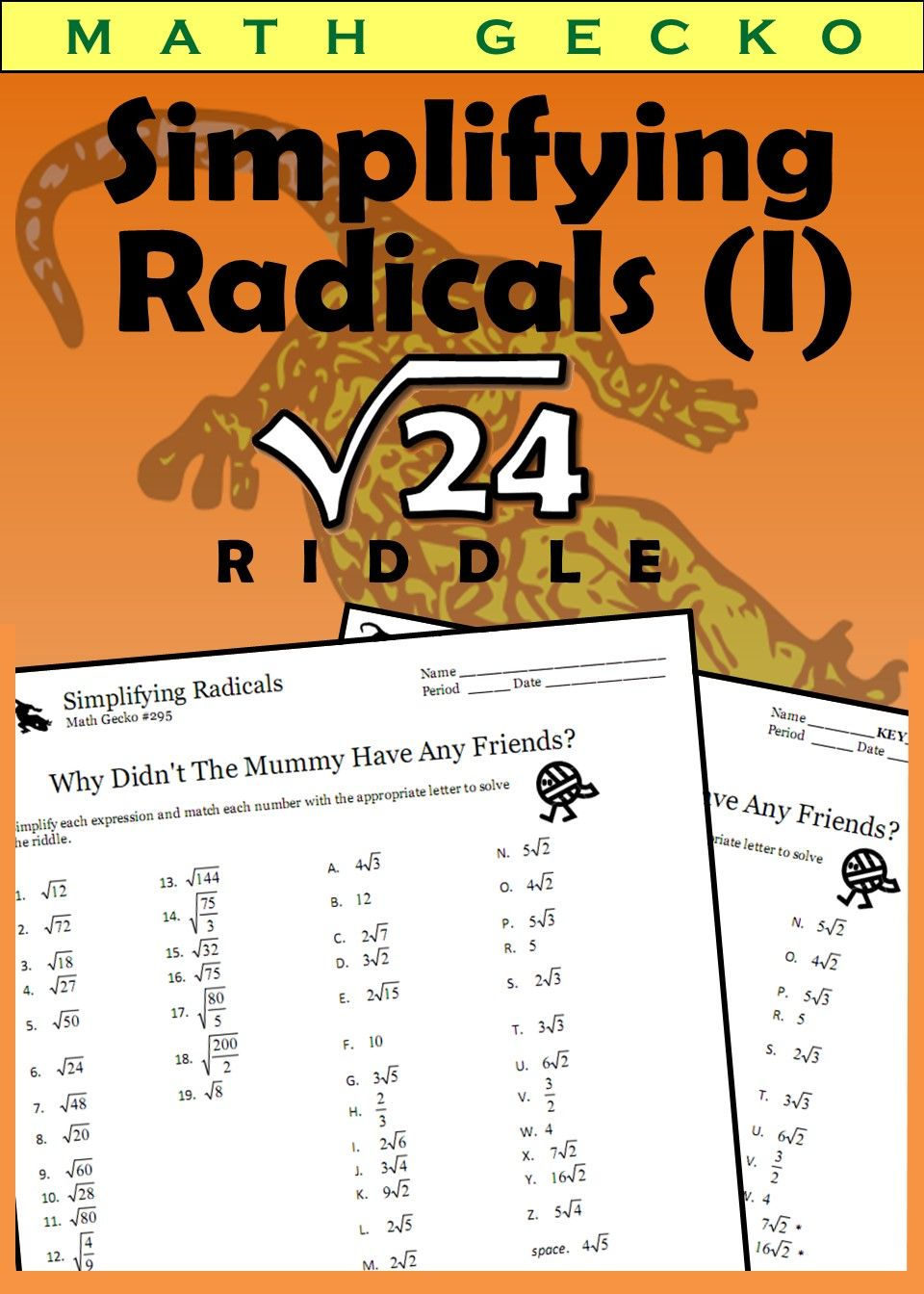 Simplifying Radicals Riddle Simplifying Radicals Simplifying Radical Expressions Radical Expressions