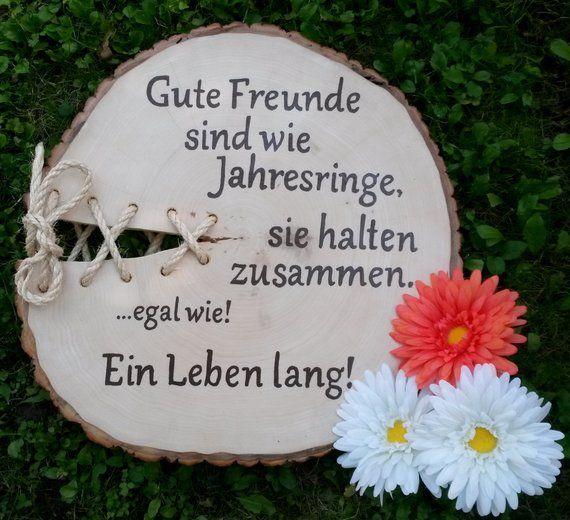 Holzbaumscheibe Freunde Bester Freund Guter Freund #holzscheibendeko