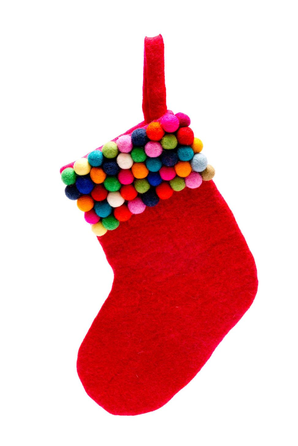 This hand made felt stocking co-ordinates with the bauble wreath