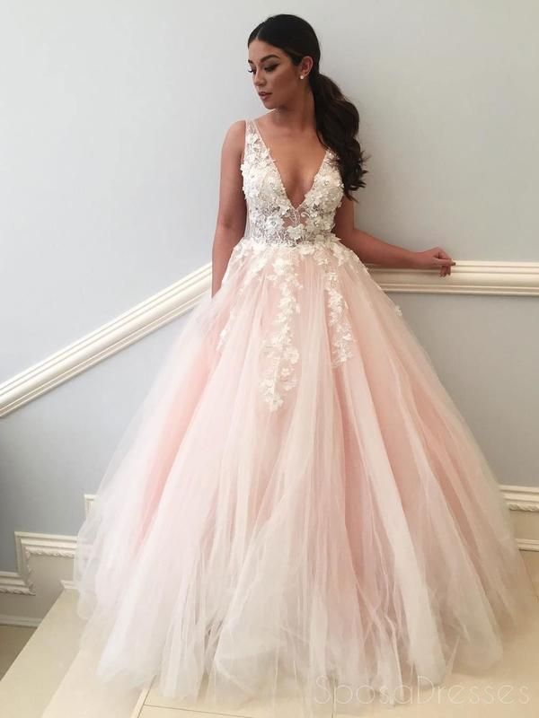 eb856f16228 Sexy See Through Lace Applique Pale Pink A line Long Custom Evening Prom  Dresses