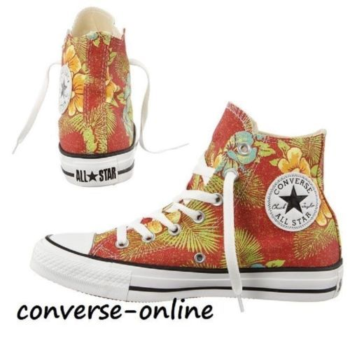 Womens-Mens-CONVERSE-All-Star-HAWAIIAN-Red-Green-HI-TOP-Trainers-Boots-UK-SIZE-6