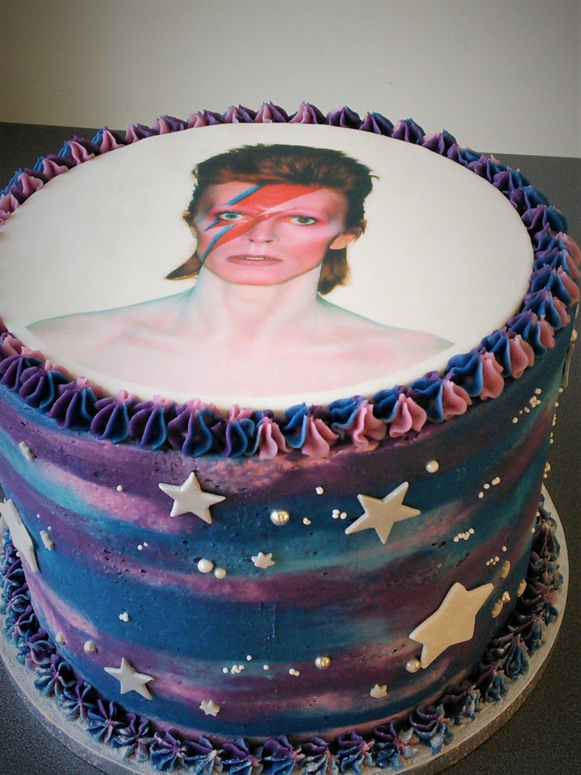 David Bowie Purple And Blue Galaxy Birthday Cake Dessert