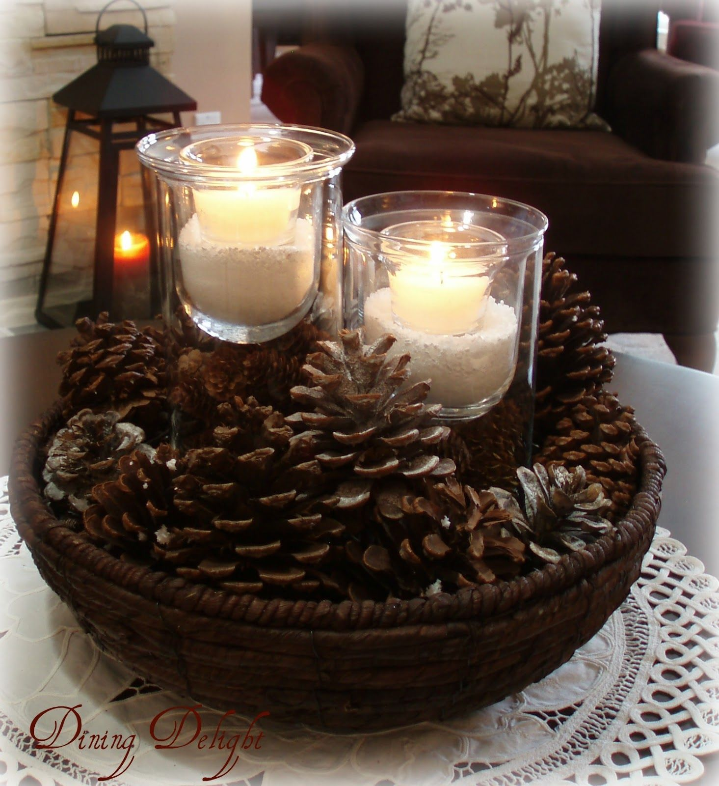 Photo of Winter Living Room in White, Brown and Cream