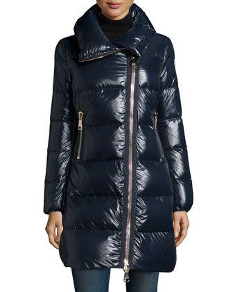 joinville high collar puffer jacket navy by moncler at neiman rh pinterest com