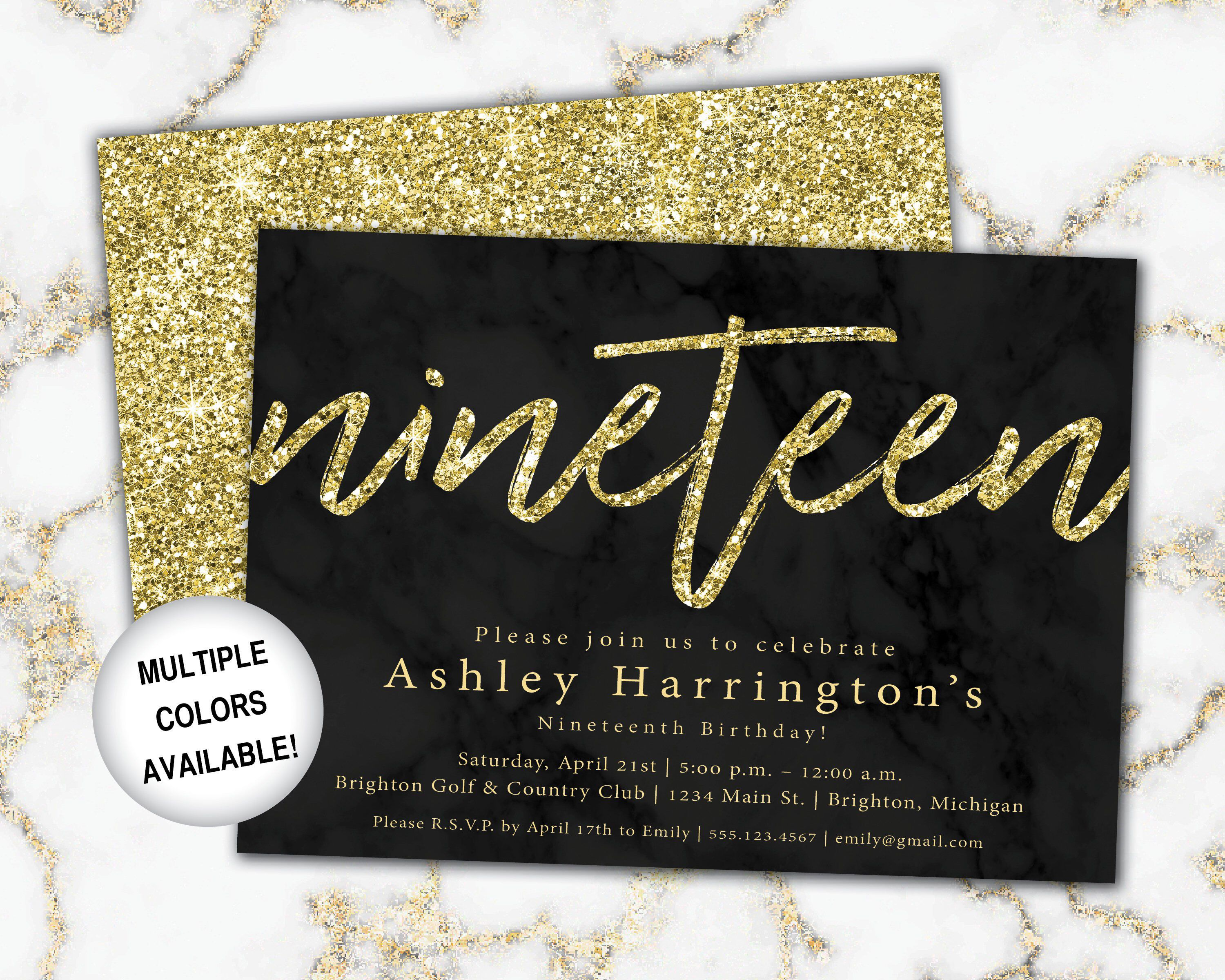 3th Birthday Invitation Gold Glitter Nineteenth Birthday  Etsy