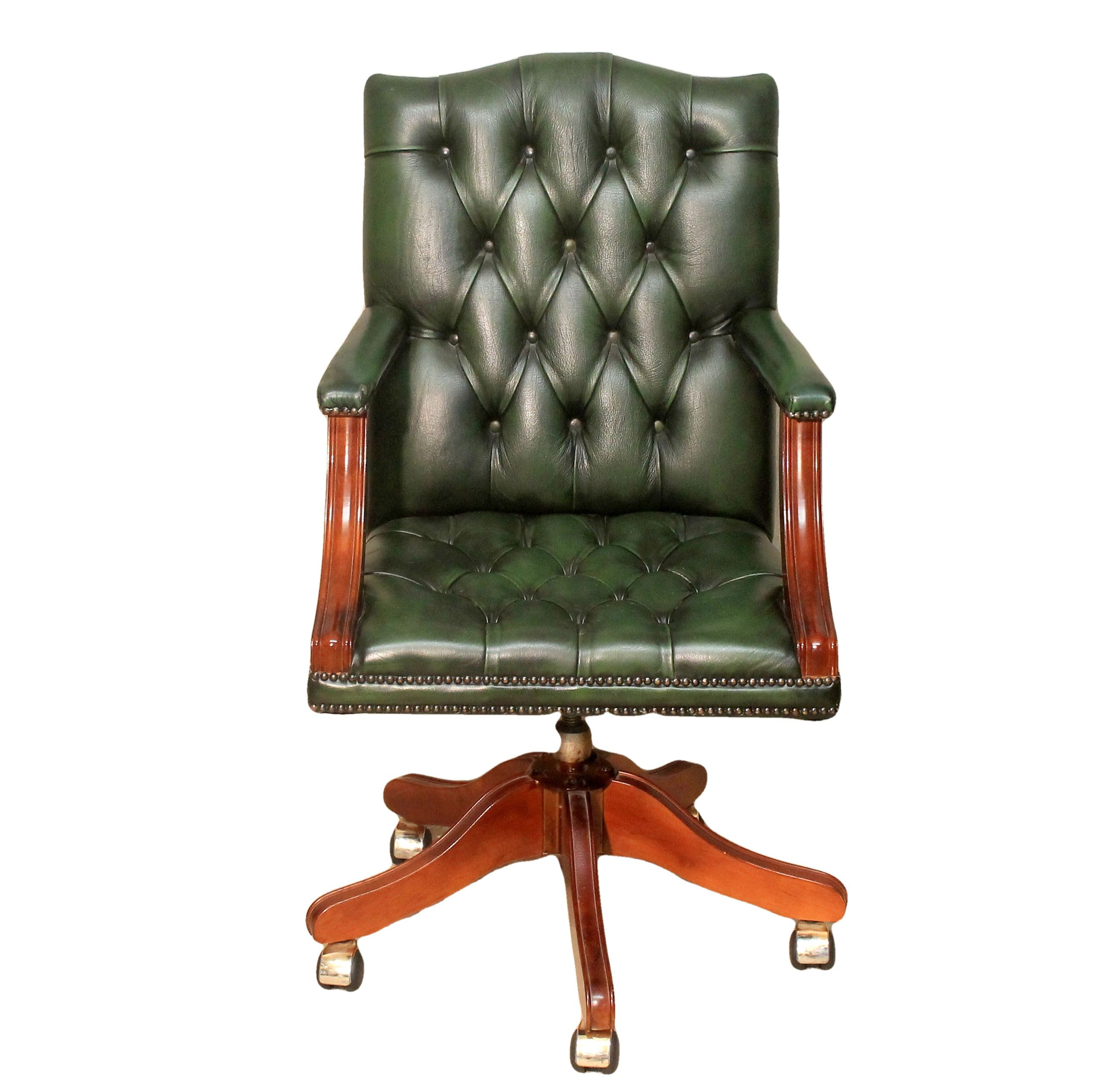 Green Leather Office Swivel Chair (With images) Swivel