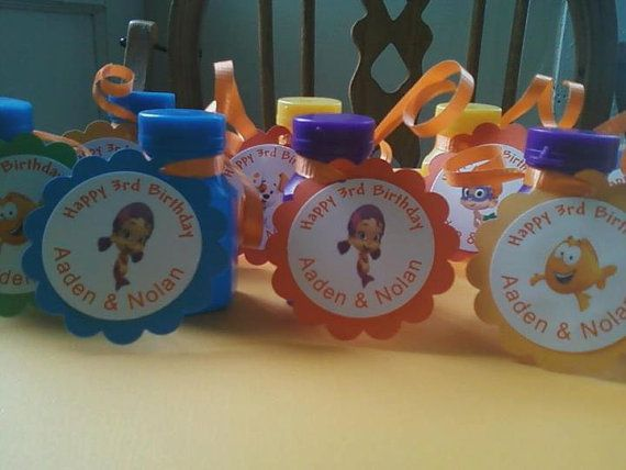 12 Bubble Guppies Personalized Bubble Tags  Birthday  Party Decoartaion Favor on Etsy, $5.00
