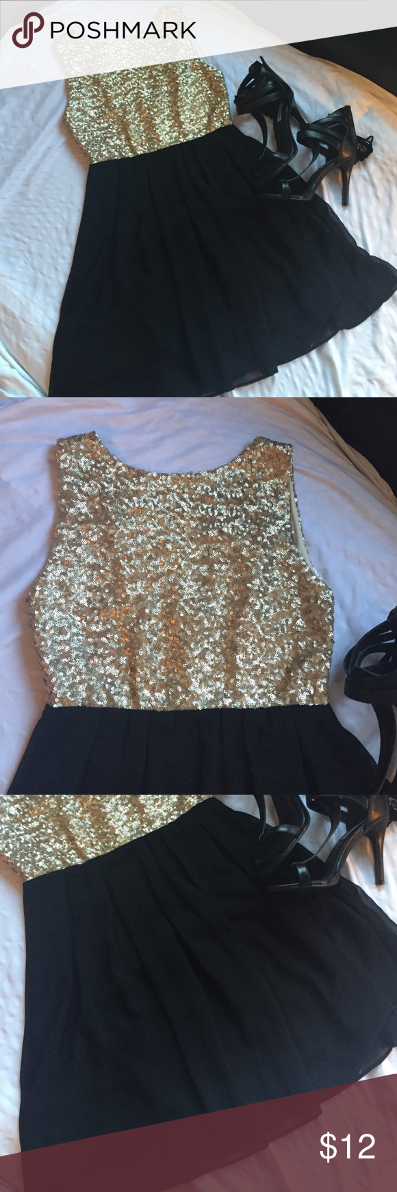 Gold sequined black party dress Adorable dress with gold sequins. I absolutely love this dress. I love the Low back and the dark zipper paired with the light gold color. It's in great condition. I wore once for an event. Size XS. TFNC London brand. Bundle to save. Dresses Mini