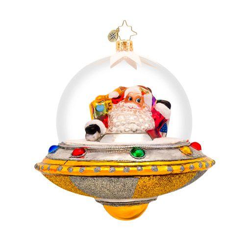 Radko Santa Spaceship Ornament Holiday Ornaments, Glass Ornaments, Santa  Ornaments, Christmas Decorations, - Christopher Radko Claus Encounters Christmas Ornament - (retired