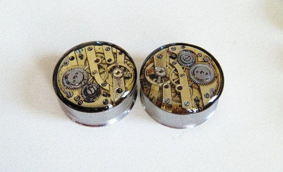 Steampunk Plugs / Tunnels   Gold Gears In Your Ears by Jamlincrow, £38.00