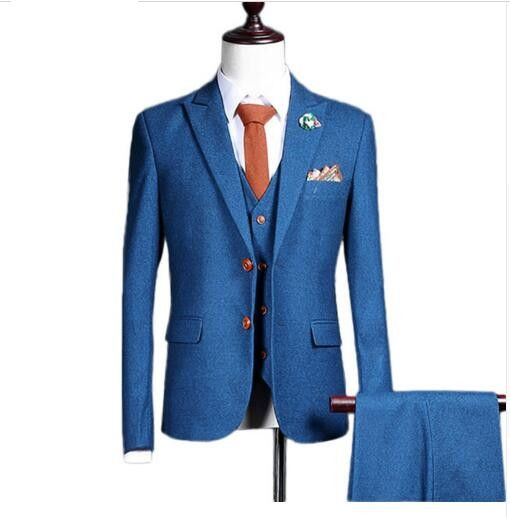 jacket+pants+vest) New fashion men suit spring autumn blue suits ...